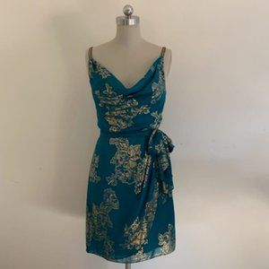 Robbie Bee Teal Green/Gold Beaded Dress 6 - NWT!